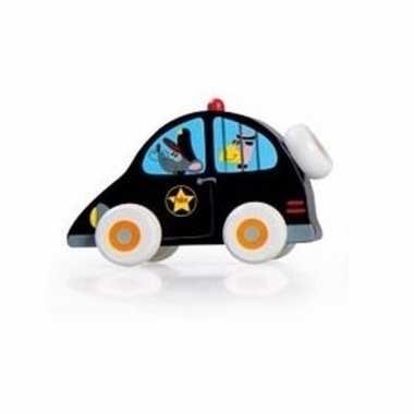 Speelgoedauto houten politiewagen 10 cm