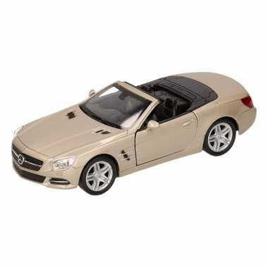 Speelgoedauto mercedes-benz 2012 sl500 cabrio champagne zilver 12 cm