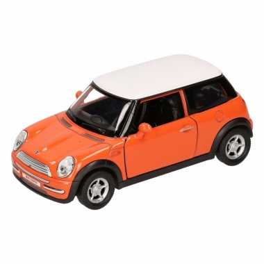 Speelgoedauto mini cooper oranje 11 cm