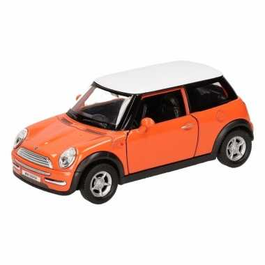Speelgoedauto mini cooper oranje 12 cm