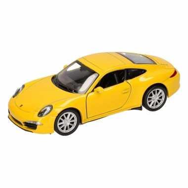 Speelgoedauto porsche carrera 911 s geel 12 cm