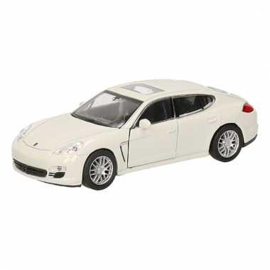 Speelgoedauto porsche panamera s wit 12 cm