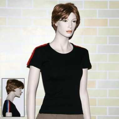 T shirt zwart met nl kleuren bies
