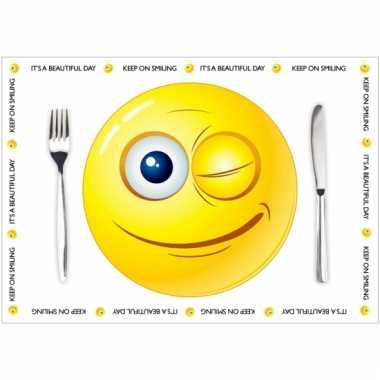 Tafel placemats smiley thema 10 stuks