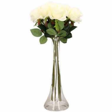 Tafeldecoratie 10 witte rozen in een vaas 45 cm