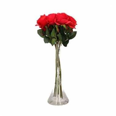 Tafeldecoratie 12 rode rozen in een vaas 45 cm
