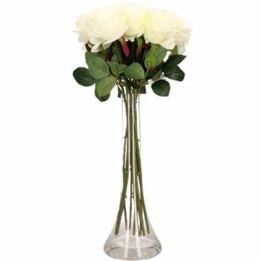 Tafeldecoratie 12 witte rozen in een vaas 45 cm