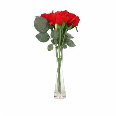 Tafeldecoratie 3 rode rozen in een vaas 30 cm