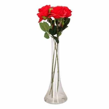 Tafeldecoratie 3 rode rozen in een vaas 45 cm