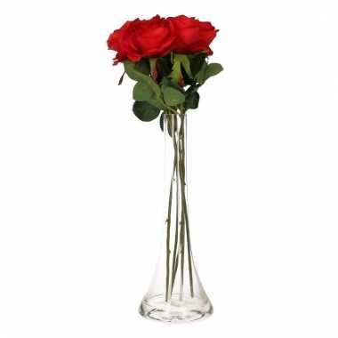 Tafeldecoratie 5 rode rozen in een vaas 45 cm
