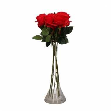Tafeldecoratie 6 rode rozen in een vaas 45 cm