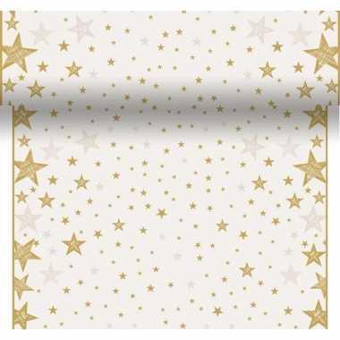 Tafelloper kerstprint creme wit met sterren