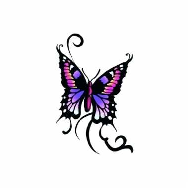 Tatoeage glitter vlinder zwart/paars
