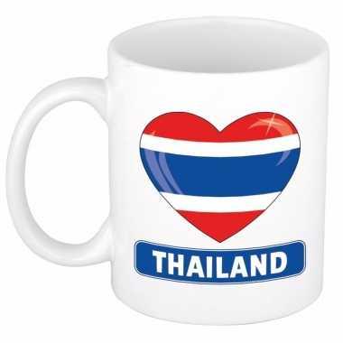 Thaise vlag hart mok / beker 300 ml