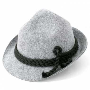 Tiroler hoed grijs voor volwassenen