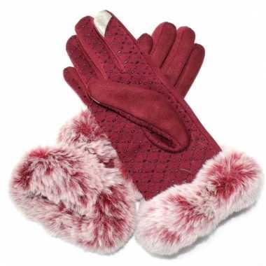 Touchscreen handschoenen rood met bont voor dames
