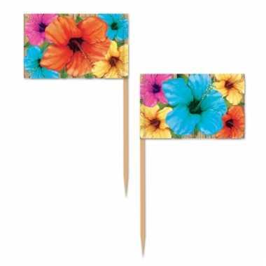 Tropische bloemen cocktailprikkers 50 stuks