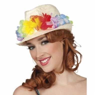 Tropische hoedje met bloemen