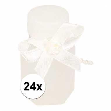 Trouwerij bellenblazen witte strik 24x