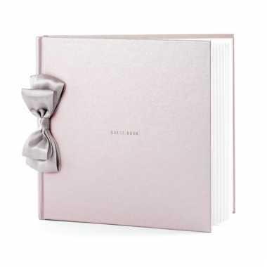 Trouwerij gastenboeken parel roze