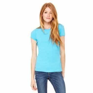 Turquoise dames t-shirtjes hanna ronde hals