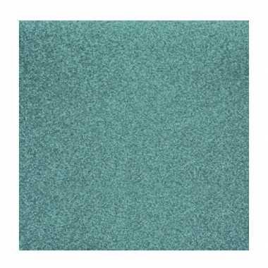Turquoise knutsel papier glitter