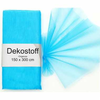 Turquoise organza stoffen 150 x 300 cm