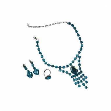 Turquoise sieradenset 3 delig