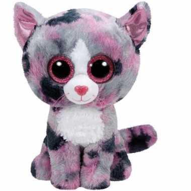 Ty beanie knuffeltje roze gevlekte kat met kraalogen 15 cm