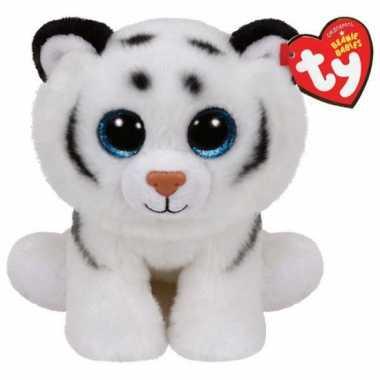 Ty beanie knuffeltje witte tijger met kraalogen 15 cm