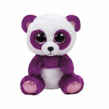 Ty panda beer in het paars 15 cm