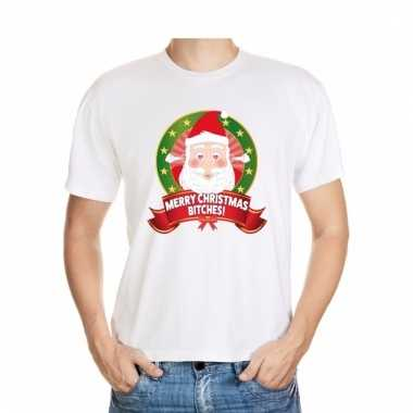 Ugly kerstmis shirt wit merry christmas bitches voor mannen