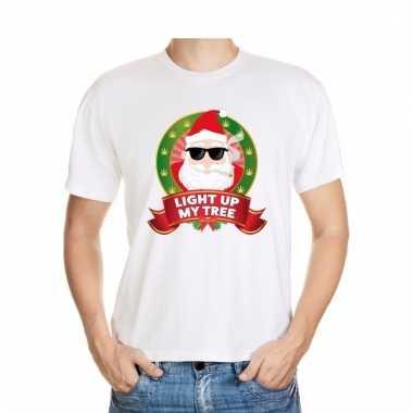 Ugly kerstmis shirt wit wiet rokende kerstman voor mannen