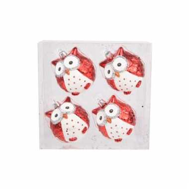 Uil kerstballen rood 7 cm