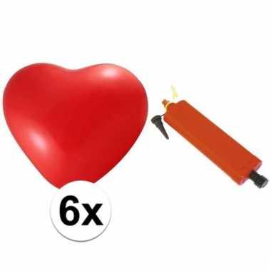 Valentijn ballonnenset 6 hartjes met pomp