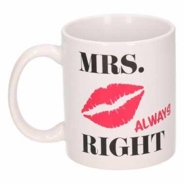 Valentijn beker mrs always right 300 ml