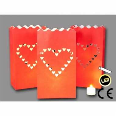 Valentijn kaarsjes candle bags + led