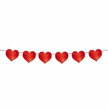 Valentijnsdag slinger met rode hartjes