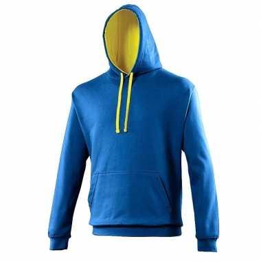 Varsity heren sweater kobalt met gele capuchon