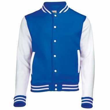 Varsity jacket blauw/wit voor heren