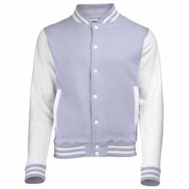 Varsity jacket grijs/wit voor heren