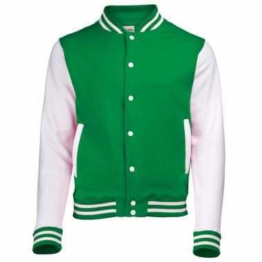 Varsity jacket groen/wit voor dames