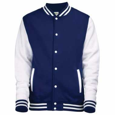 Varsity jacket navy/wit voor heren