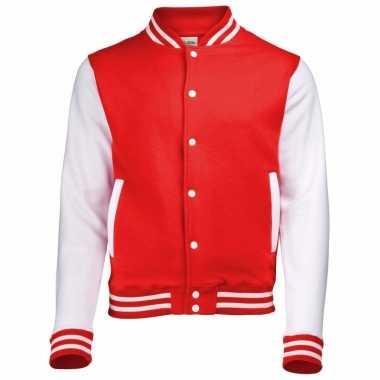 Varsity jacket rood/wit voor dames