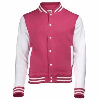 Varsity jacket roze/wit voor heren