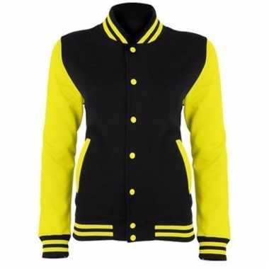 Varsity jacket zwart/fluorgeel voor dames