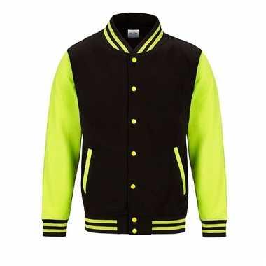 Varsity jacket zwart/fluorgeel voor heren