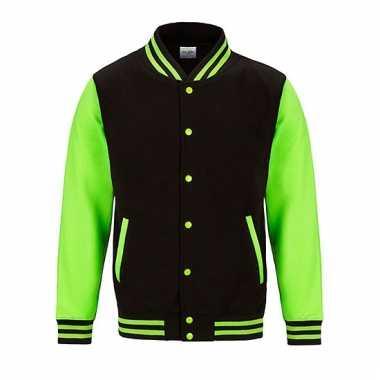 Varsity jacket zwart/fluorgroen voor heren