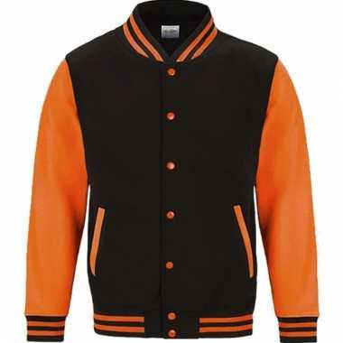 Varsity jacket zwart/fluororanje voor heren