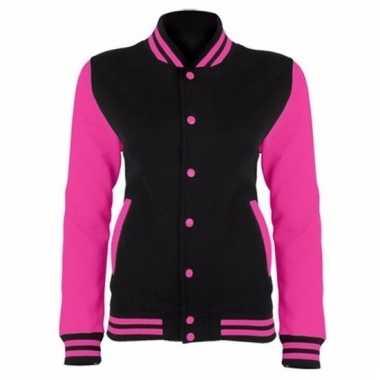 Varsity jacket zwart/fluorroze voor dames